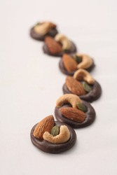 Delicious chocolates with various nuts