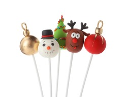 Delicious Christmas themed cake pops isolated on white