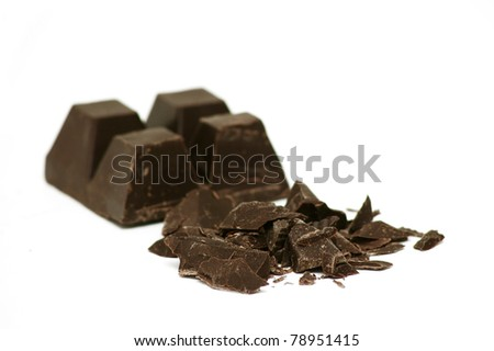 Delicious close-up of chocolate on white background