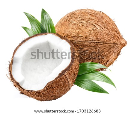 Delicious coconuts, isolated on white background
