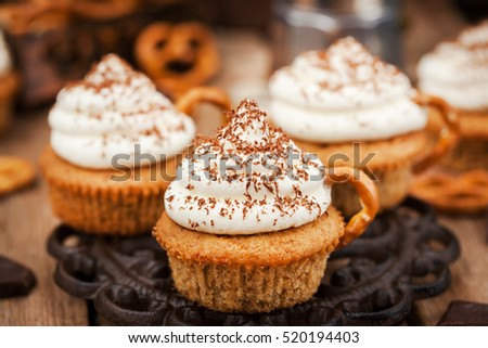 Stock Photo Delicious coffee cupcakes decorated like a cappuccino cup