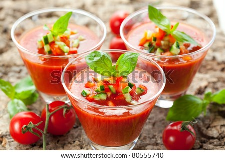 delicious cold Gazpacho soup in glasses