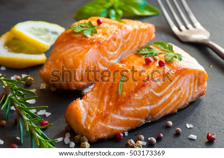 Delicious cooked salmon fish fillets