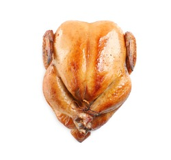 Delicious cooked whole turkey on white background, top view