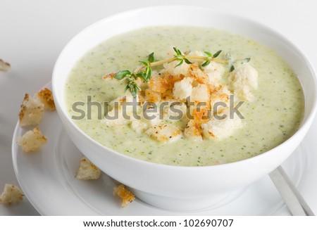 Delicious creamy vegetable soup - stock photo