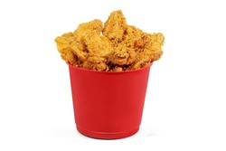 Delicious Crispy Fried Chicken small red Bucket - Front View - White Background - Close up