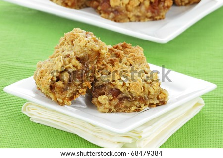 Delicious date bars made with oats and pitted dates.