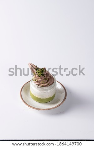 Delicious desserts on white background isolated Stok fotoğraf ©