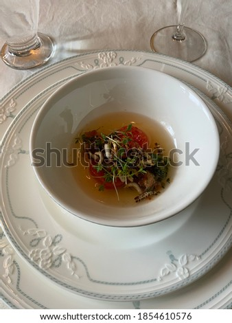 Delicious diner served on ancient plates in a chique restaurant Foto stock ©