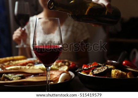 Delicious dinner with grilled vegetables and wine #515419579