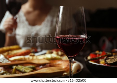 Delicious dinner with grilled vegetables and wine #515432500