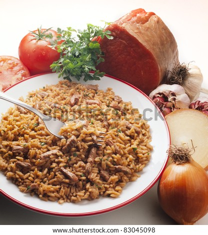 delicious dish of risotto and cheese ingredients