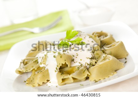 delicious dish of tortellini with cheese sauce and parsley