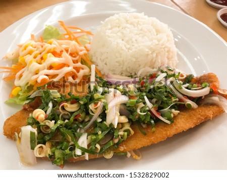 Delicious dishes, delicious fish salad