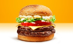Delicious Double Beef Burger consists of Bun Bread, Patty, Pickle, Onion, Mayonaisse, Ketchup, Cheddar Cheese and lettuce in a yellow background, with interactive 3D text for Modern Fast Food Restaura