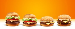 Delicious Double Cheese Beef Burger consists of Bun Bread, Patty, Pickle, Onion, Mayonaisse, Ketchup and Cheddar Cheese in a yellow background for Modern Fast Junk Food Restaurant