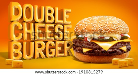 Delicious Double Cheese Beef Burger consists of Bun Bread, Patty, Pickle, Onion, Mayonaisse, Ketchup and Cheddar Cheese in a yellow background, with interactive 3D text for Modern Fast Food Restaurant