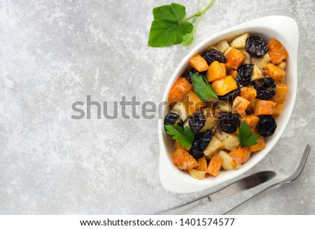 delicious easy to make side dishes pictures of slow cooking food pumpkin, vegetables, prunes, apples, potatoes