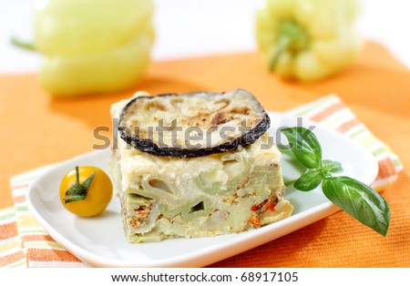 Delicious eggplant pie with minced meat and paprika