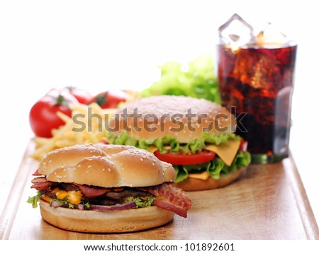 Delicious fast food on the table