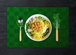 Delicious food, Khmer Noodle Soup or Num BonChok Khmer