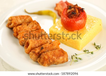 Delicious food on white plate
