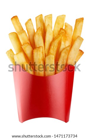 Delicious french potato fries in a red carton package box, isolated on white background