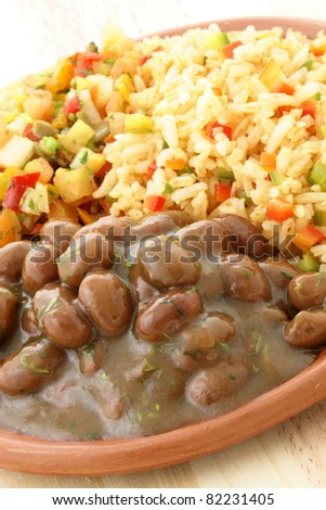 delicious fresh and hot, beans and rice plate.