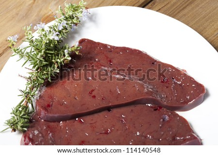 Delicious fresh beef liver and filleting