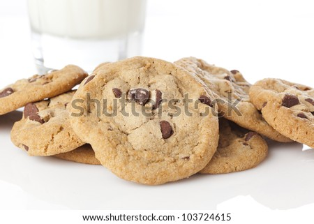 Delicious Fresh Chocolate Chip Cookies with milk