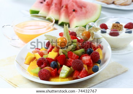 Delicious fresh  fruit salad served in bowl as dessert