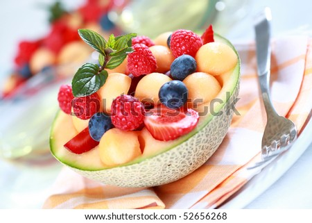 Delicious fresh fruits served in bowl as dessert