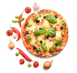 Delicious fresh pizza isolated on white