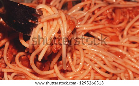 Delicious fresh pork and spaghetti  background.