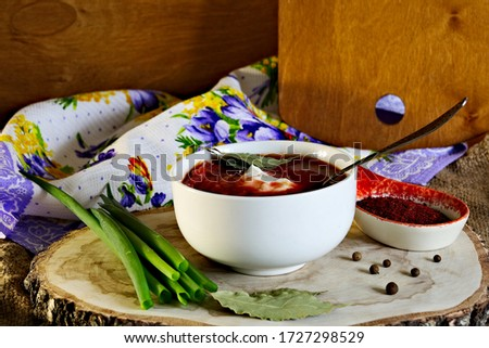 Delicious, fresh, red soup cooked with meat and vegetables Сток-фото ©