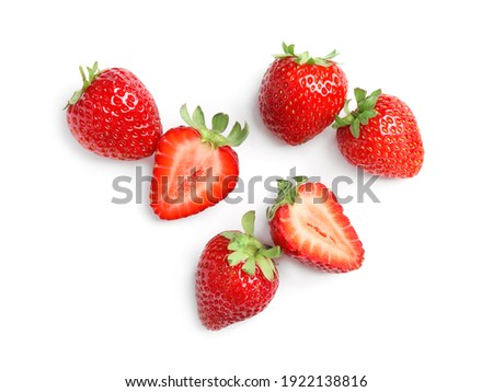 Delicious fresh red strawberries on white background, top view