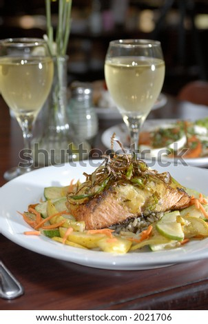 Delicious fresh salmon served with vegetables 01 (selective focus on fish)