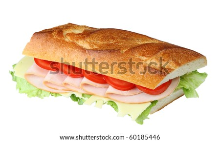 Delicious fresh sandwich with turkey breast, swiss and tomatoes