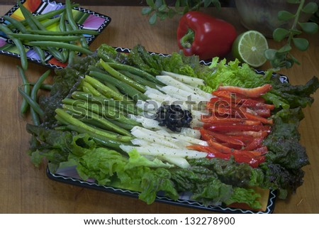 Delicious fresh vegetable salad made to resemble the Mexican Flag