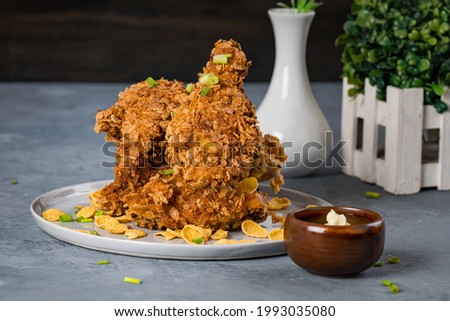 delicious fried cereal breaded chicken drumstick Stok fotoğraf ©