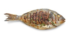 Delicious fried fish on white background