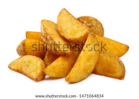 Delicious fried potato wedges, isolated on white background Stock photo ©