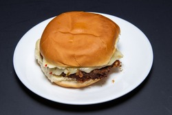 Delicious fried steak and pepper jack cheese sandwich