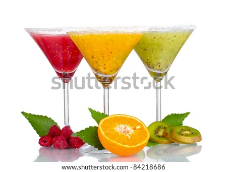 Delicious fruit smoothies and fruit isolated on white