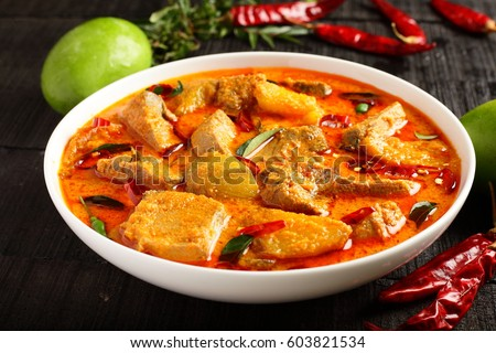 Delicious Goan fish curry with coconut milk and mangoes, #603821534