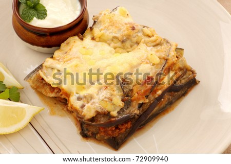 Delicious Greek moussaka with aubergine and yoghurt.