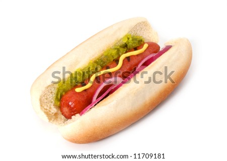 Delicious Grilled Hot Dog with the works: mustard, sweet relish and onions