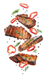Delicious grilled meat and other ingredients falling on white background