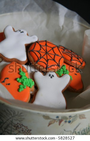 Delicious Halloween biscuits in a tin