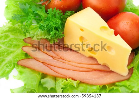 Delicious ham, cheese, tomato, parsley and salad